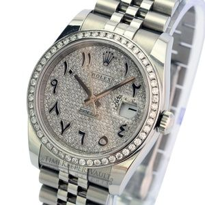 Rolex Men's Datejust 116234 Steel Pave Arabic